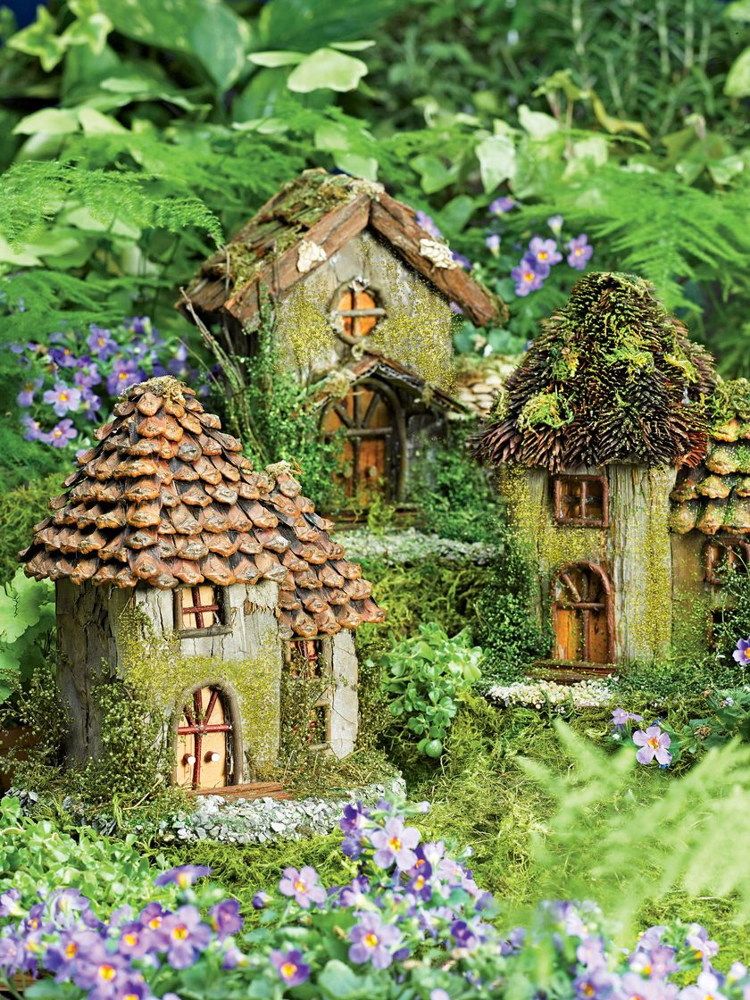 Fairy houses with bark and pinecone roofs and twig decorations ...