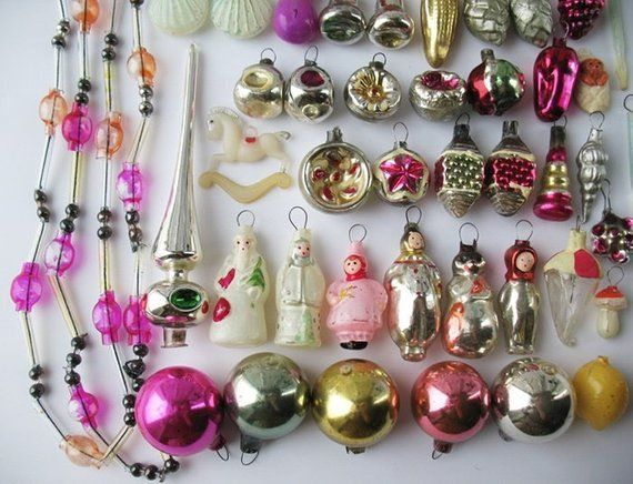 Set 60 MINIATURE Glass Vintage Russian Christmas MINI Ornament Xmas