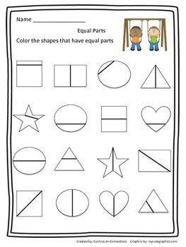Shape Equal Parts Worksheet | Shape, Math and Children