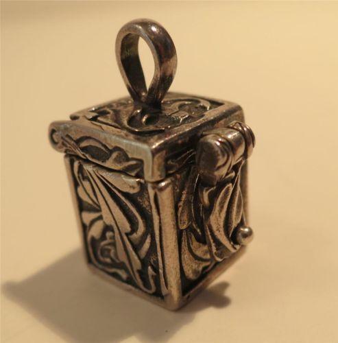 Vintage Sterling Silver Prayer Box Wish Box Pendant by Rio Grande Leaf Design | eBay
