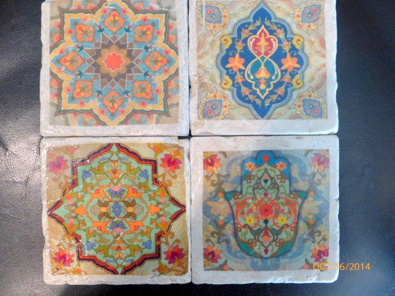 Travertine Coasters Stone Decorative Tile Set Of 4 Marble Moroccan