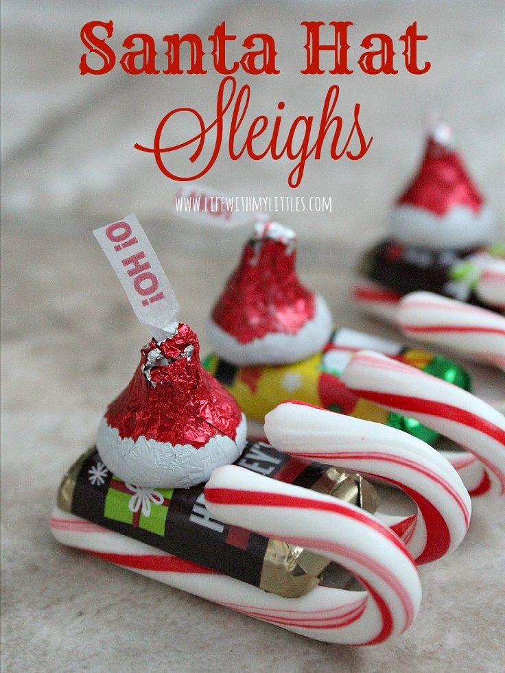 Candy Santa Hat Sleighs - 12 Wondrous DIY Candy Cane Sleigh Ideas