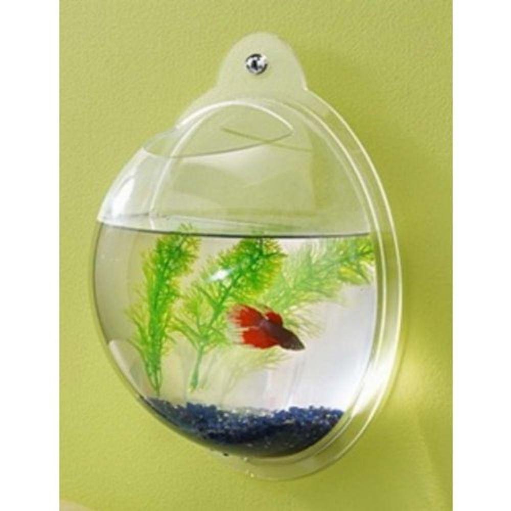 Fish Bubble Wall Mount Hanging Fish Betta Mini Aquarium Acrylic Fish ...