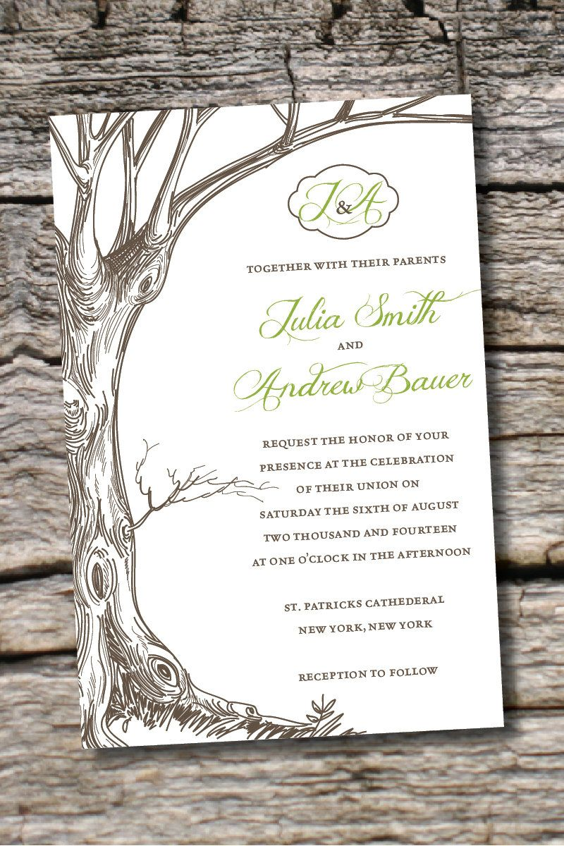 VINTAGE TREE INITIALS Rustic Wedding by PaperHeartCompany on Etsy ...
