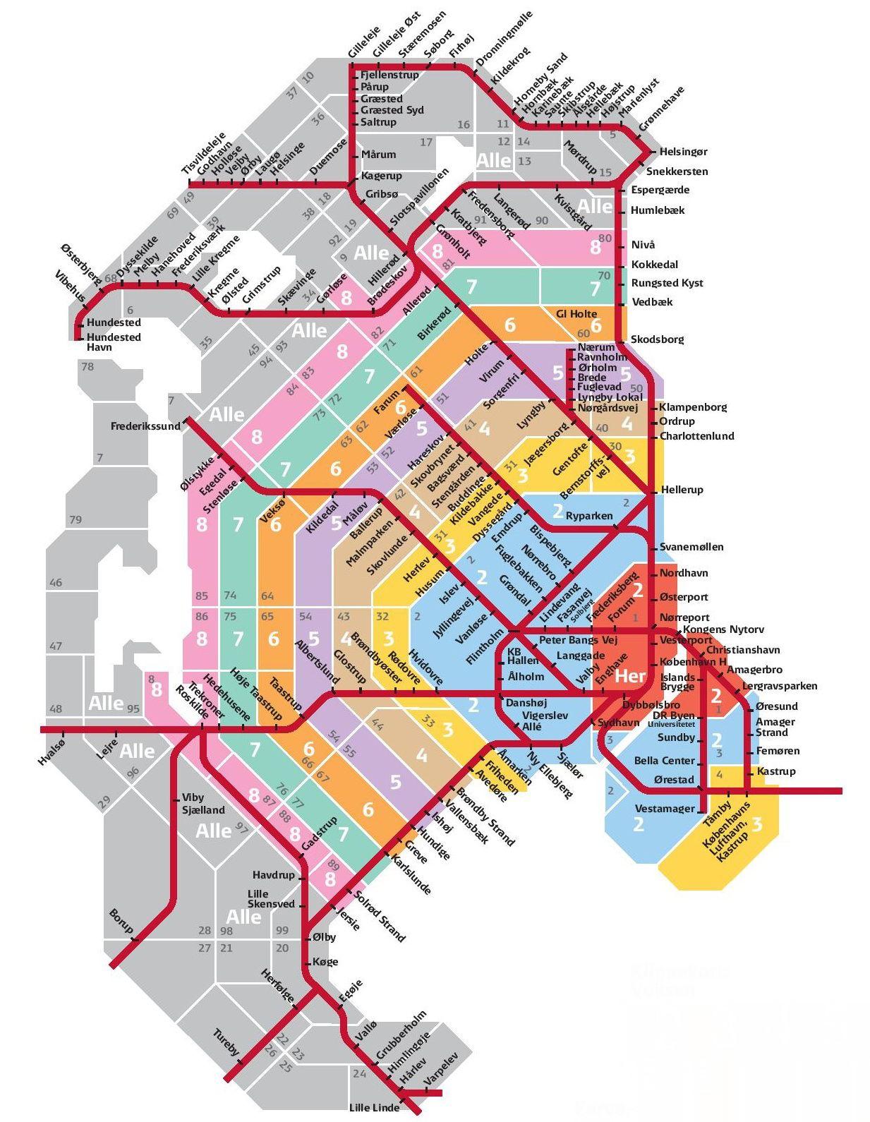 Copenhagen Public Transport Zones Maps Copenhagen Map