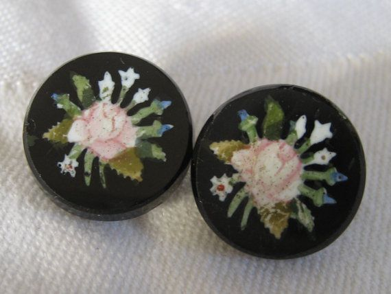 Set of 2 ANTIQUE Rose Flower Black Glass BUTTONS by abandc on Etsy, $7.95