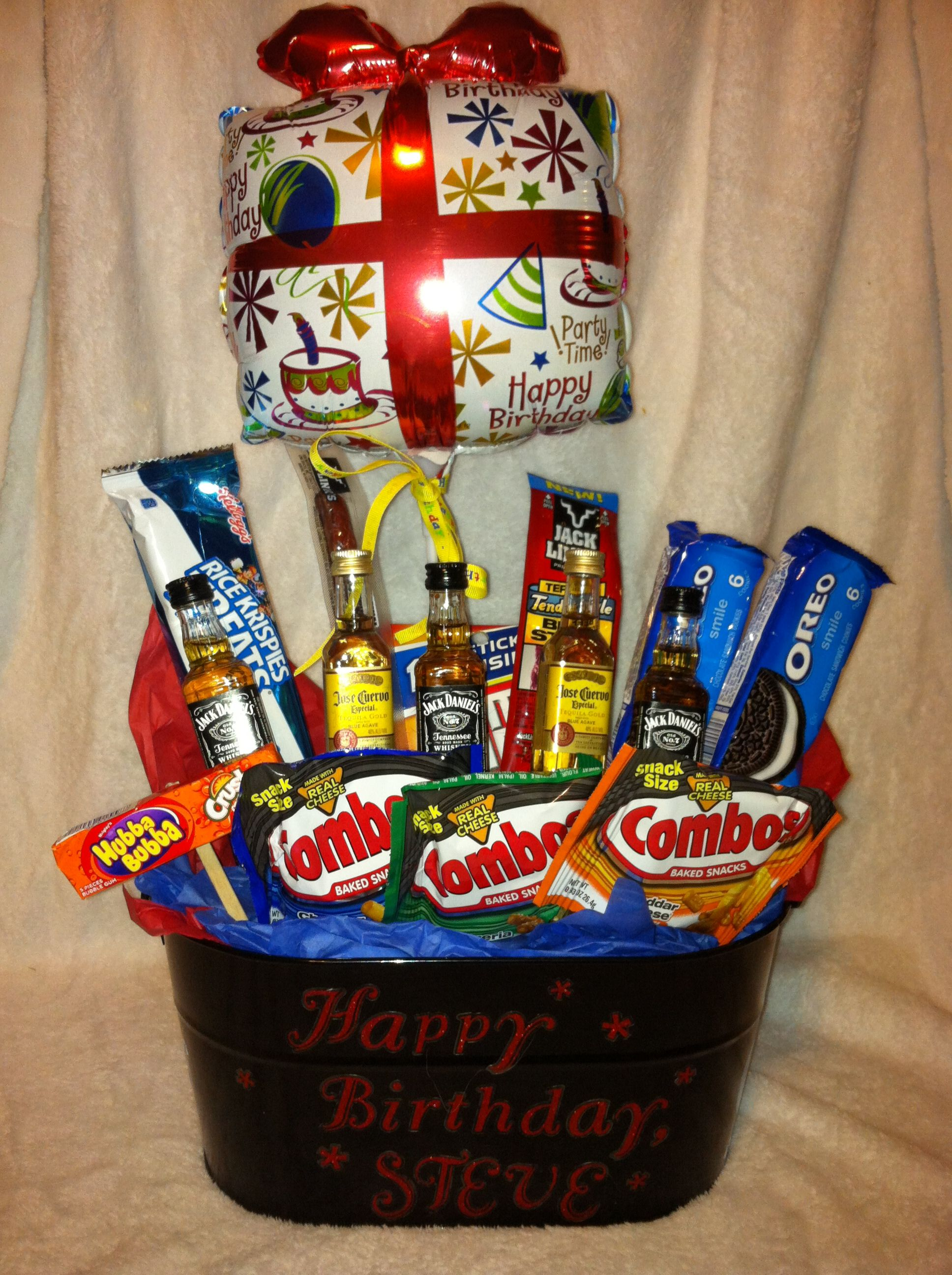 Birthday gift basket (for him) Birthday gift baskets