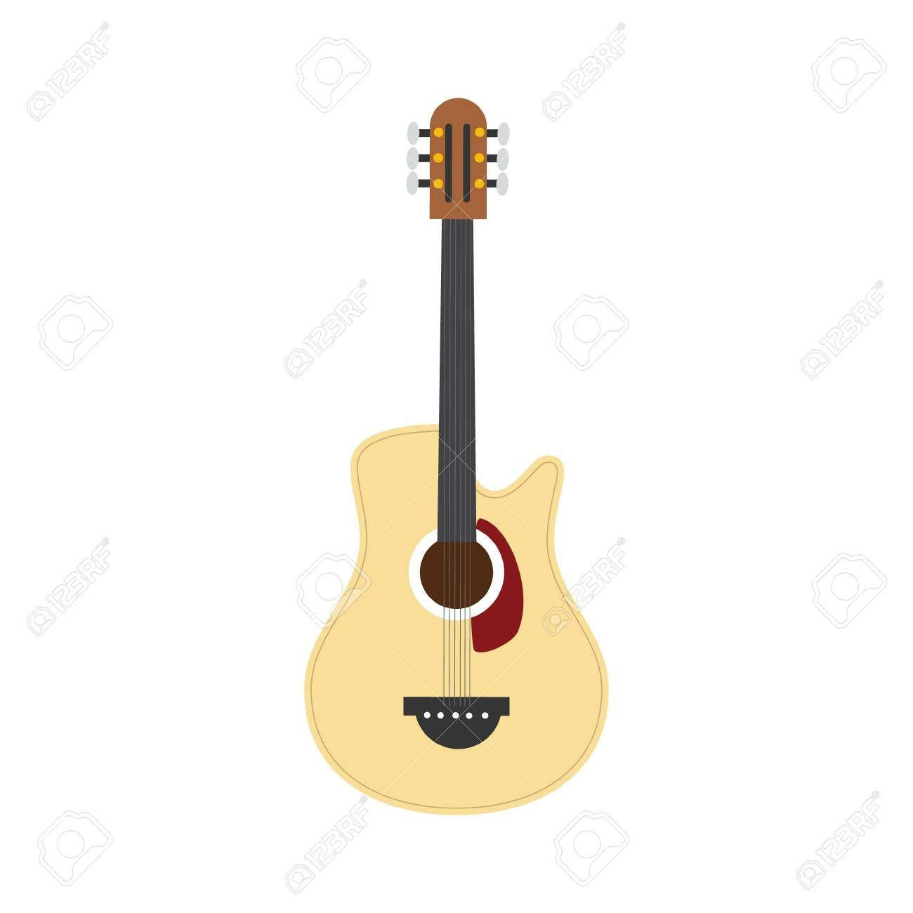 Vector Illustration Of An Acoustic Guitar In Cartoon Style Isolated On White Background Spon Aco Typography Design Layout Cartoon Styles Typography Design