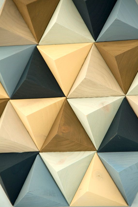 Wood Wall art geometric, hexagon, mid century wall art, unique wood ...