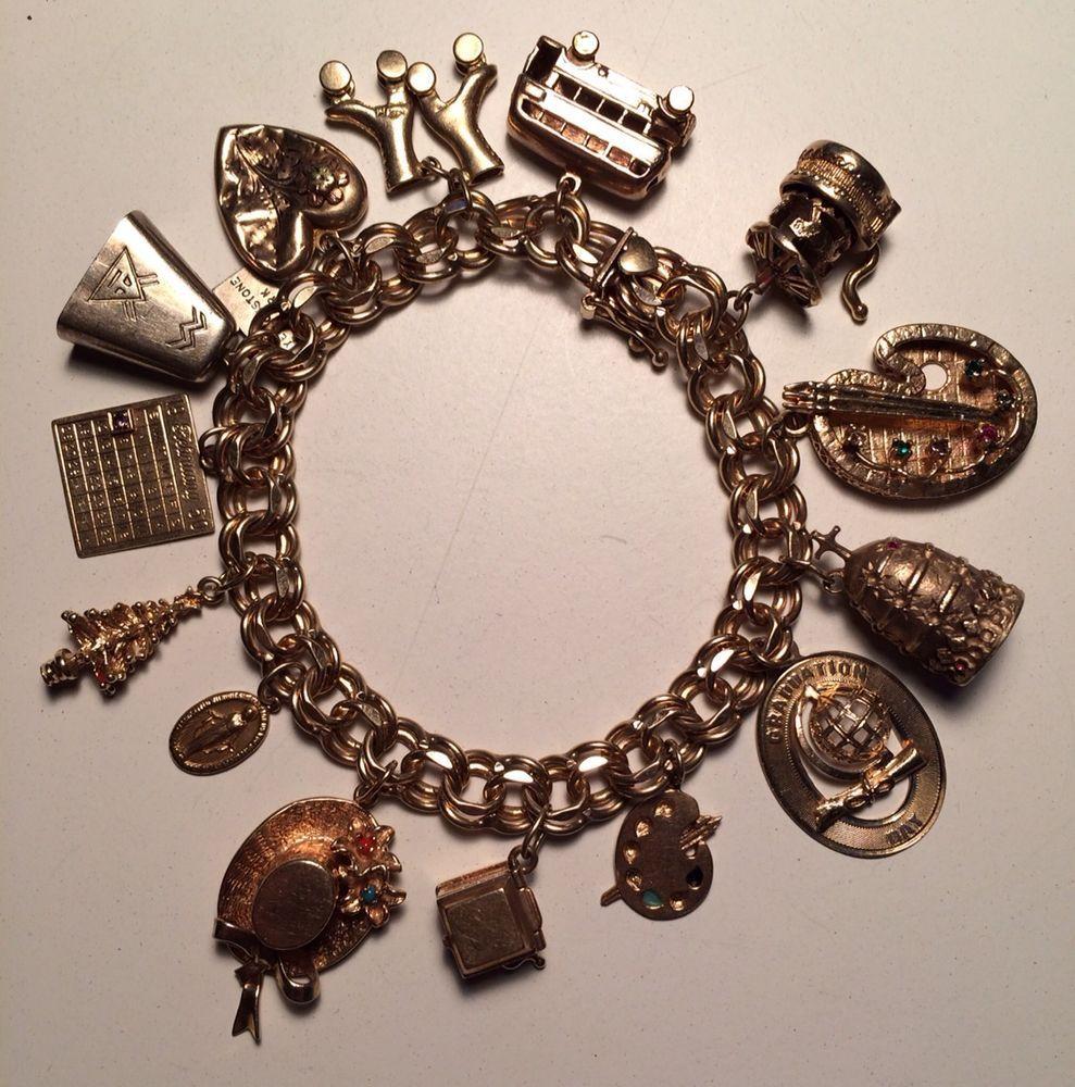 Vintage 14k Gold Charm Bracelet 75 Grams 14k Gold Charms Charm Bracelet Gold Charm Bracelet