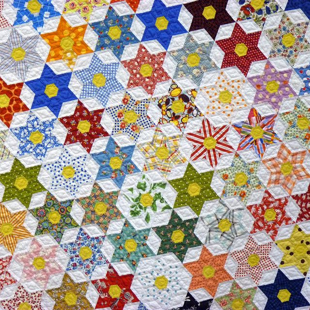 Vintage Handmade Patchwork Texas Star Quilt Cutter Drowsy Swords