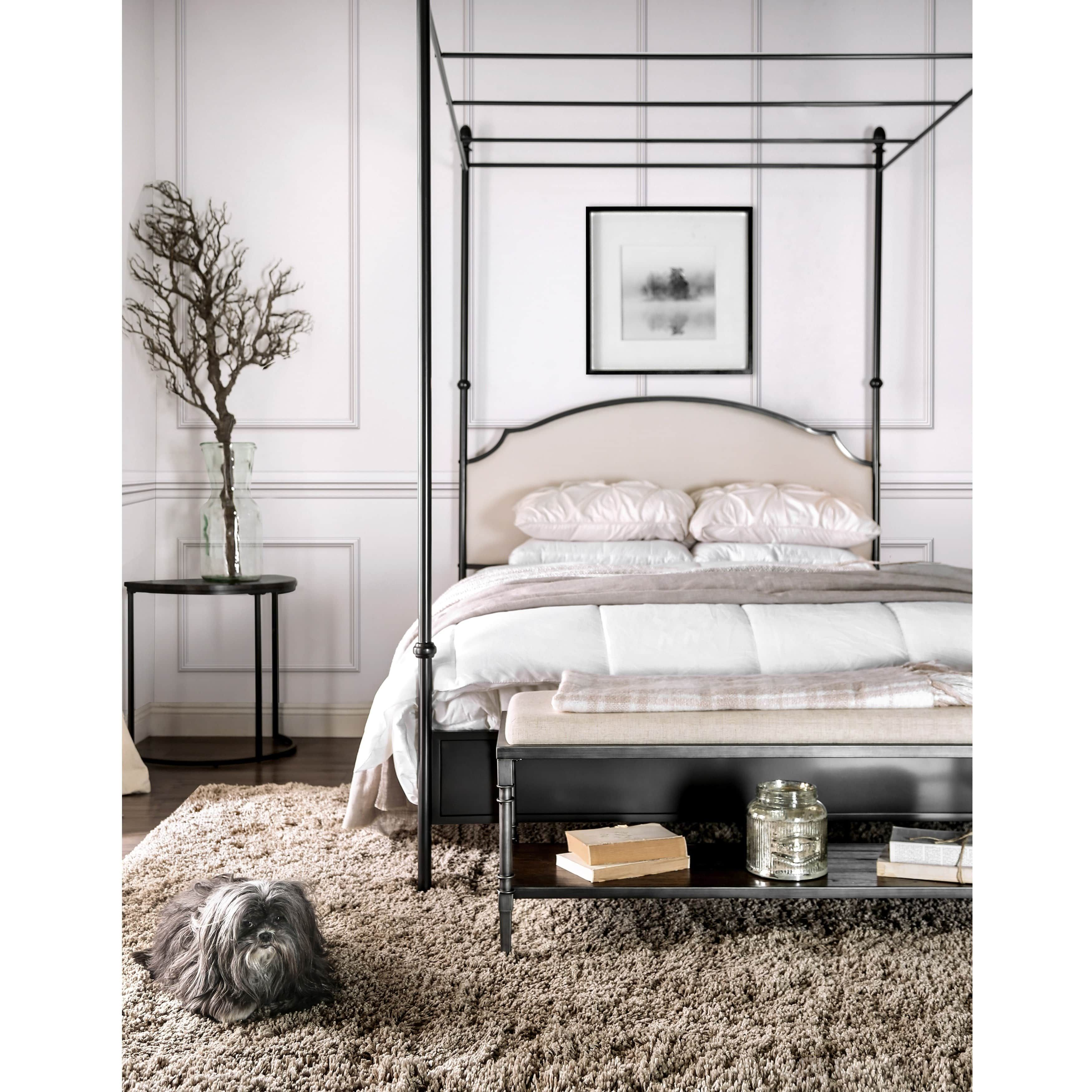 Furniture of America Karis Arched Upholstered Metal Canopy Bed | Overstock.com Shopping - The  sc 1 st  Pinterest & Furniture of America Karis Arched Upholstered Metal Canopy Bed ...