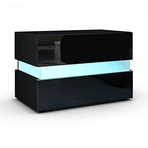 Bedside Cabinet Nightstand Flow In Black Matt High Gloss With Led Lights