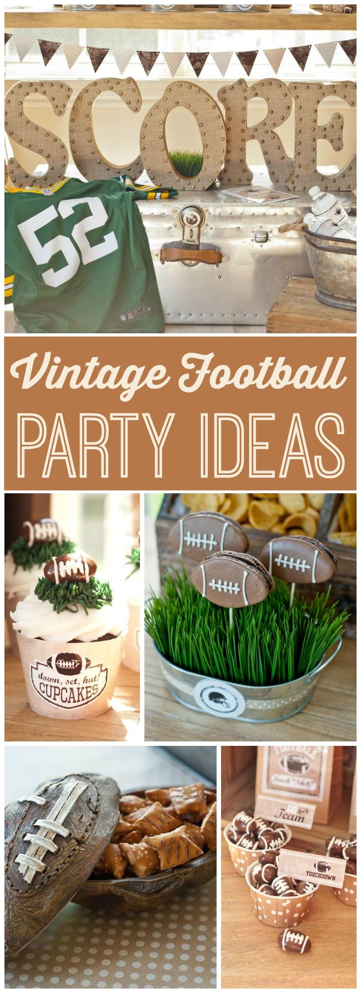 Here's a vintage football party using a neutral palette and green grass! See more party ideas at CatchMyParty.com! #footballpartyfood