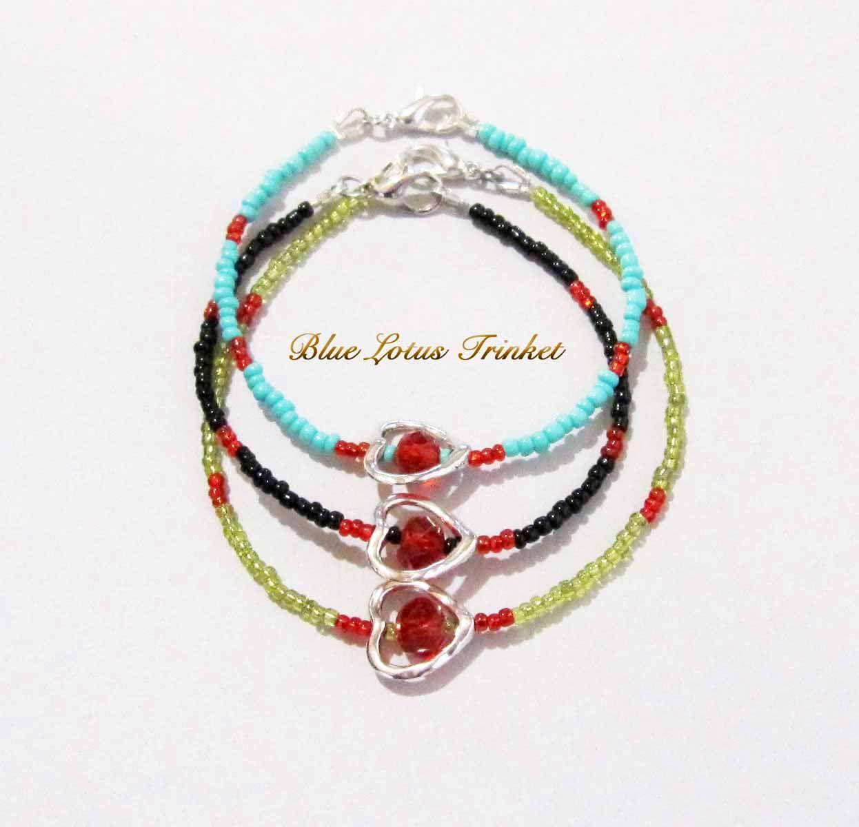 Valentine heart bracelet friendship bracelet silver heart dainty
