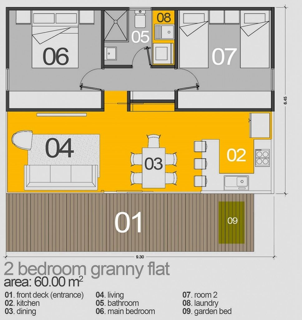 Seaforth 60m2 Granny Flat In 2019 Granny Flat Tiny House Plans Guest House Plans