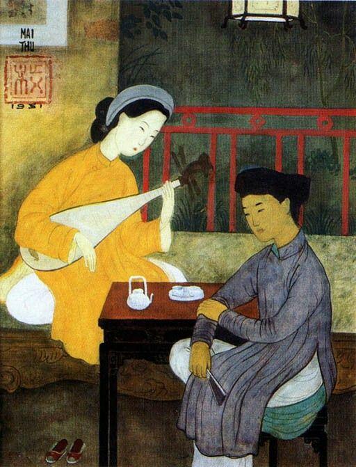 Pintura sobre seda por artista vietnamita Mai Trung Thu