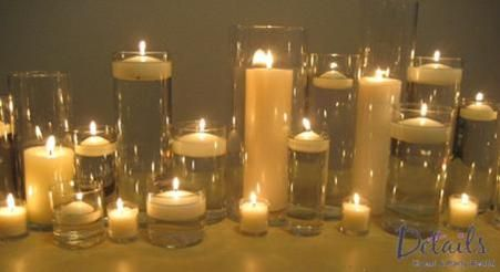 Assorted Clear Glass Cylinders With Candles Candle Arrangements Pillar Candle Centerpieces Pillar Candles Wedding