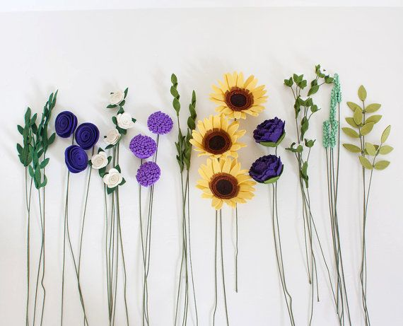 Sunflowers and purple flowers! This arrangement of felt flowers is one of my favorite and is a great addition to your upcoming special