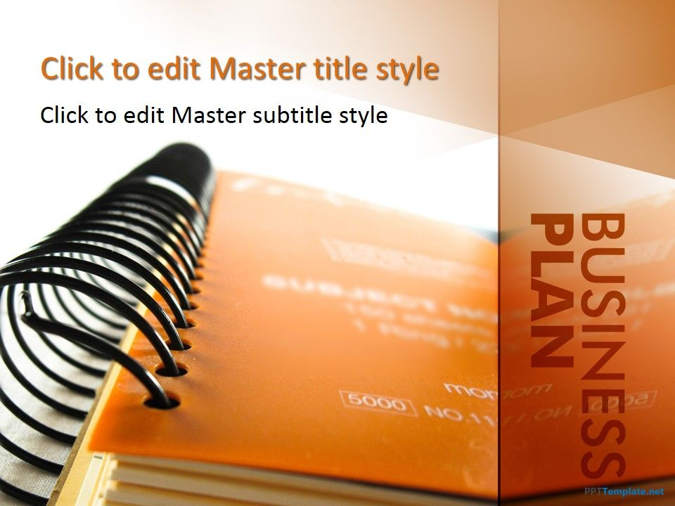 free business plan powerpoint template with orange background and, Modern powerpoint