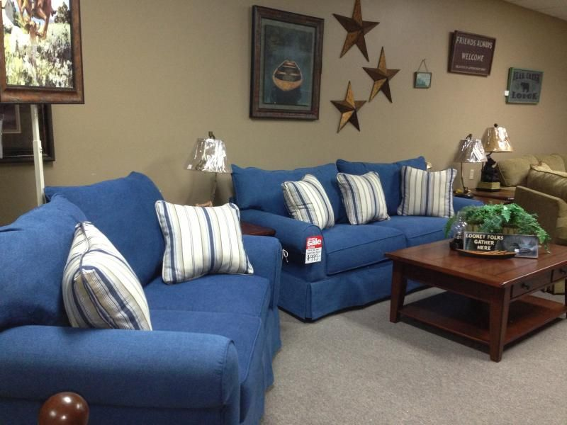 Blue denim living room furniture denim loveseat review danielle 39 s seaside pinterest Denim couch and loveseat