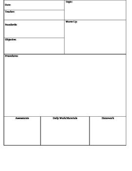 Lesson Plan Template Daily  Ms Van English  Teacherspayteachers
