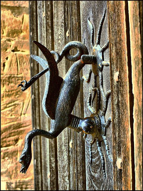 Welshpool Castle dragon door knocker