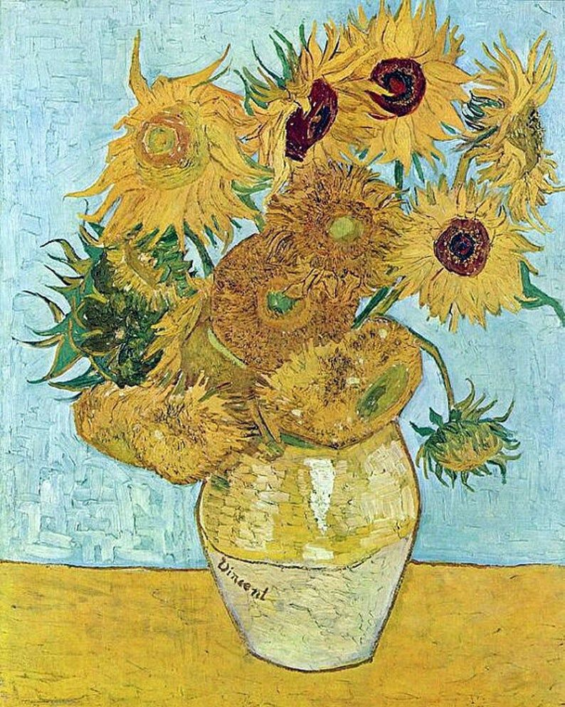 "Photo of Vincent Willem Van Gogh-1888.  Vase of Sunflowers, antique floral prints,famous artists,  antique paintings,  11 x 14""  canvas art print"