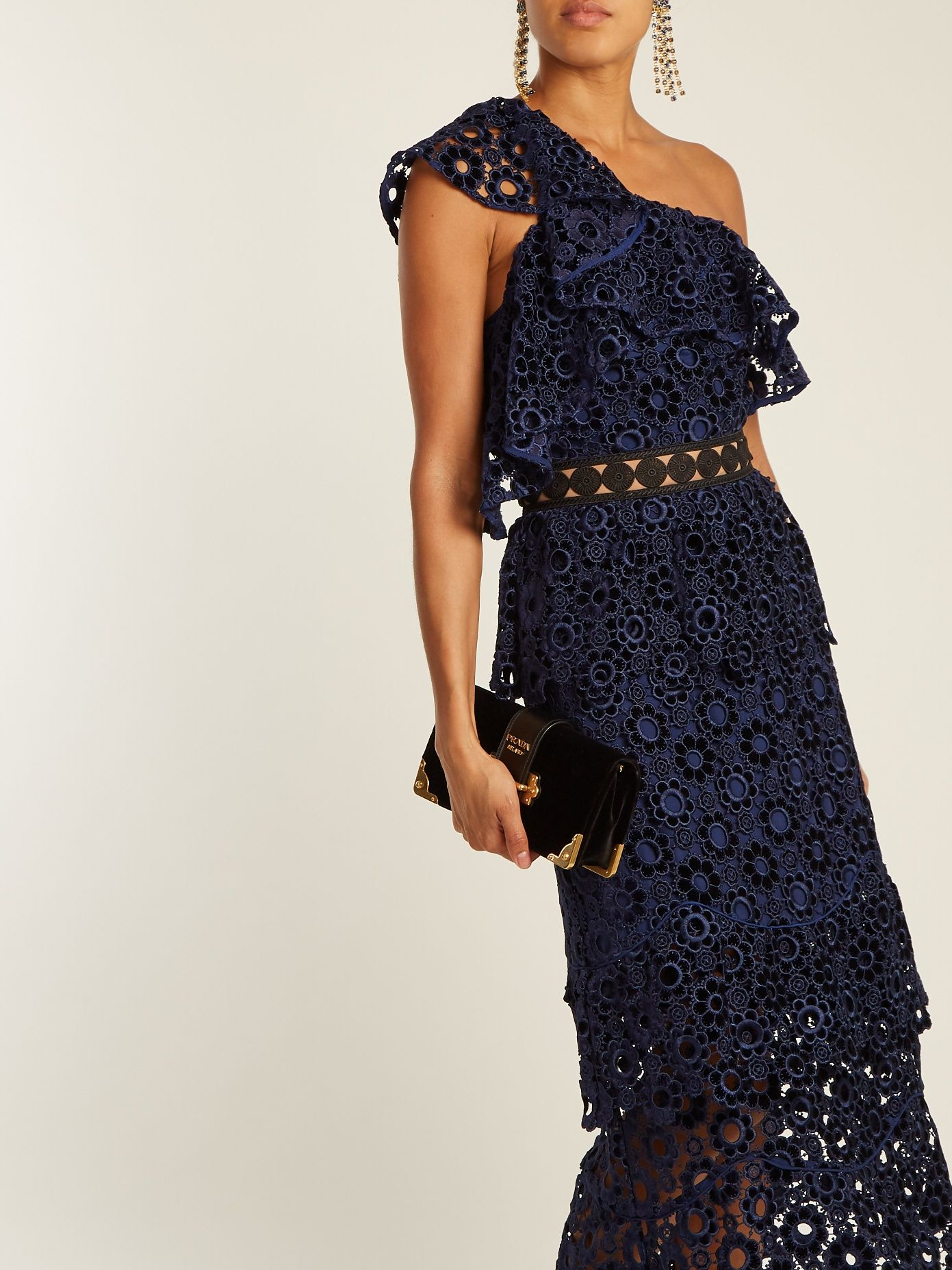 One Shoulder Tiered Floral Lace Midi Dress Self Portrait Matchesfashion Us Lace Midi Dress Dresses Midi Dress
