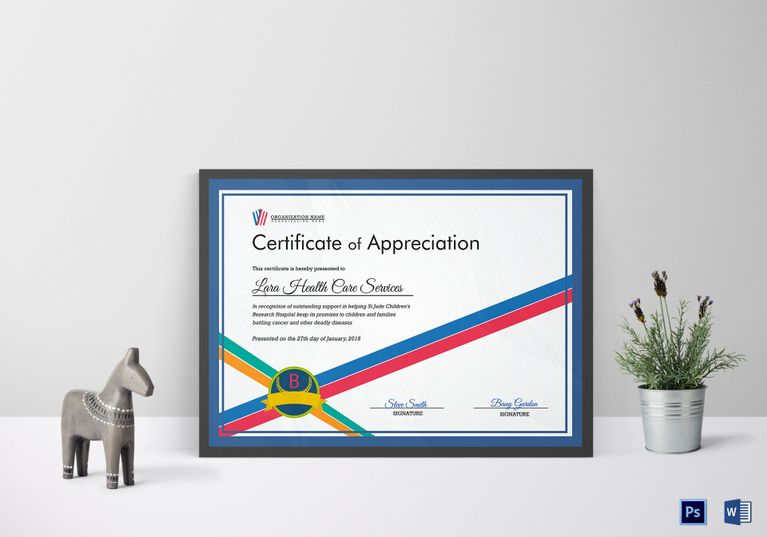 Organization appreciation certificate template 12 formats organization appreciation certificate template 12 formats included ms word photoshop file size 1169 yadclub Images