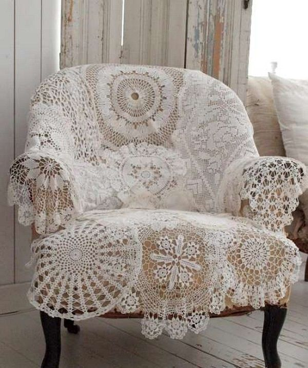 Cover an old chair with vintage crocheted doilies, sewn together