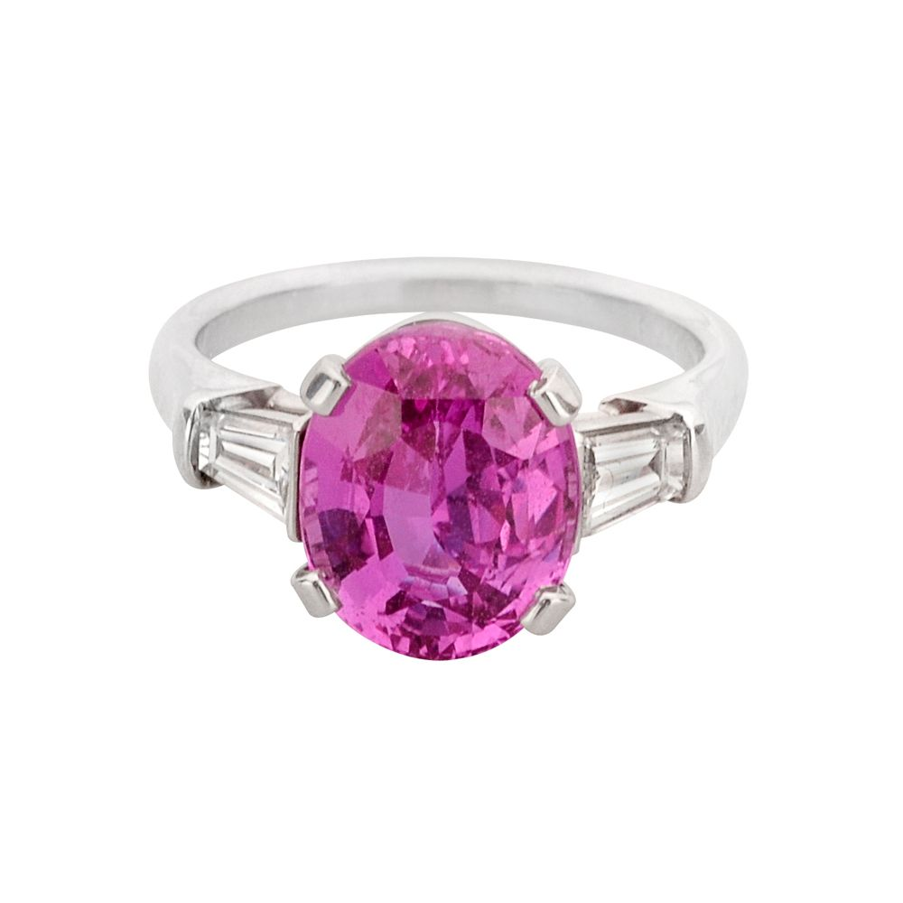 pink sapphire rings | Betteridge Oval-Cut Pink Sapphire & Diamond ...