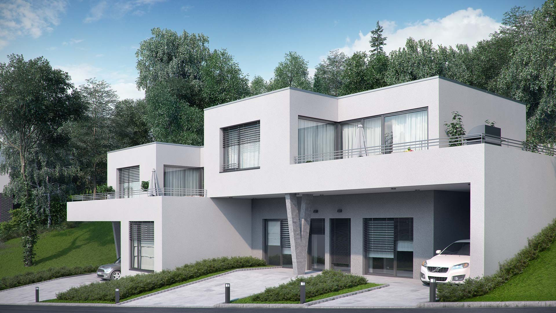 Visualization of duplex house in Walding, Austria – front elevation with environment