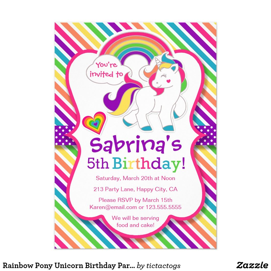 rainbow pony unicorn birthday party