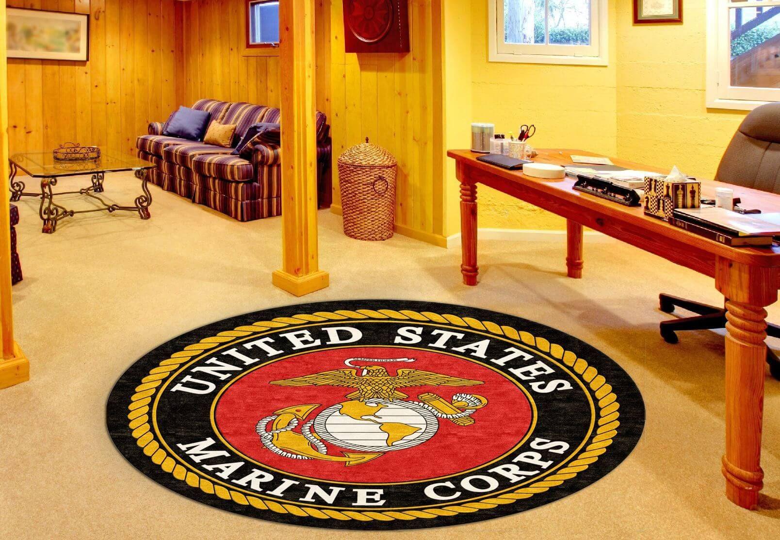 Buy U S Marines Corps Round Logo Rug Online Rug Rats Rugs