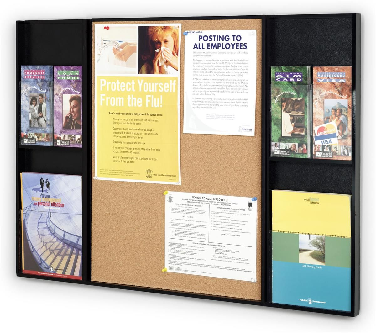 Bulletin Board for Wall Mount, Cork Backer, 4 Adjustable Pockets ...