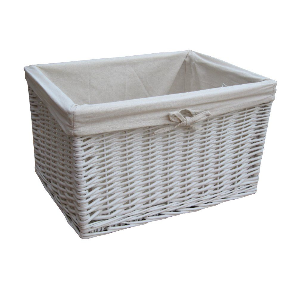 Wicker storage basket home storage baskets melbury rectangular wicker - White Wicker Rectangular Deep Storage Basket Medium L 41cm X W 30cm X H