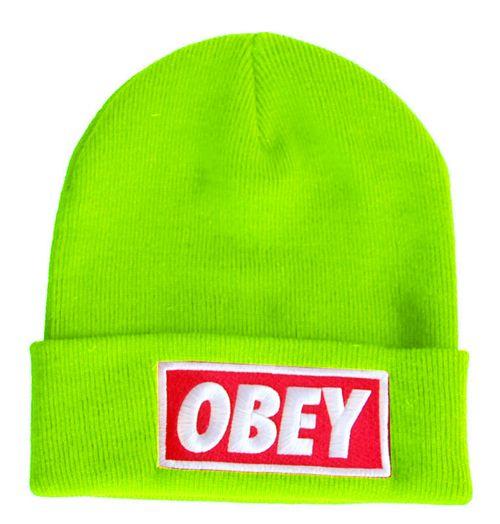 3941100a8 OBEY Standard Issue Beanie Lime Green | Beanies | Beanie, Hats, Bad hair