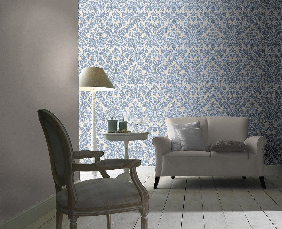 Home interior tapeten design tapete rasch florentine barock blau creme   tapeten und