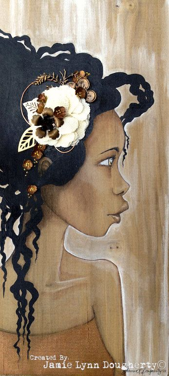Mixed Media Bloom Girl art approx 7x16 on solid by jaylynnscraps, $130.00