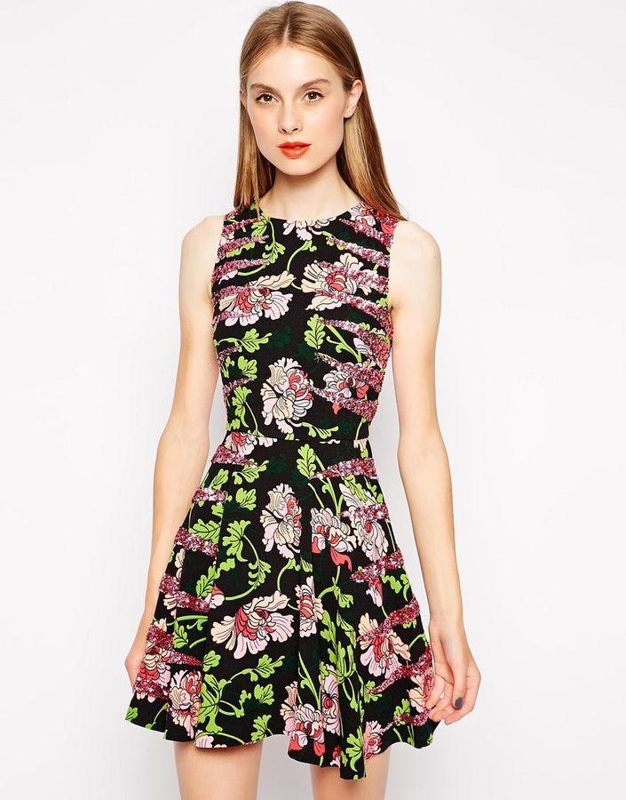 Manoush Floral Skater Dress with Sequin Detail