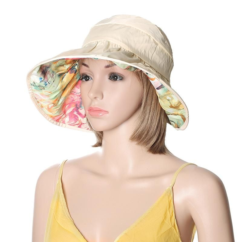 51c6f130c Women Summer Sun Protective Foldable Hat Anti-UV Wide Brim Outdoor ...