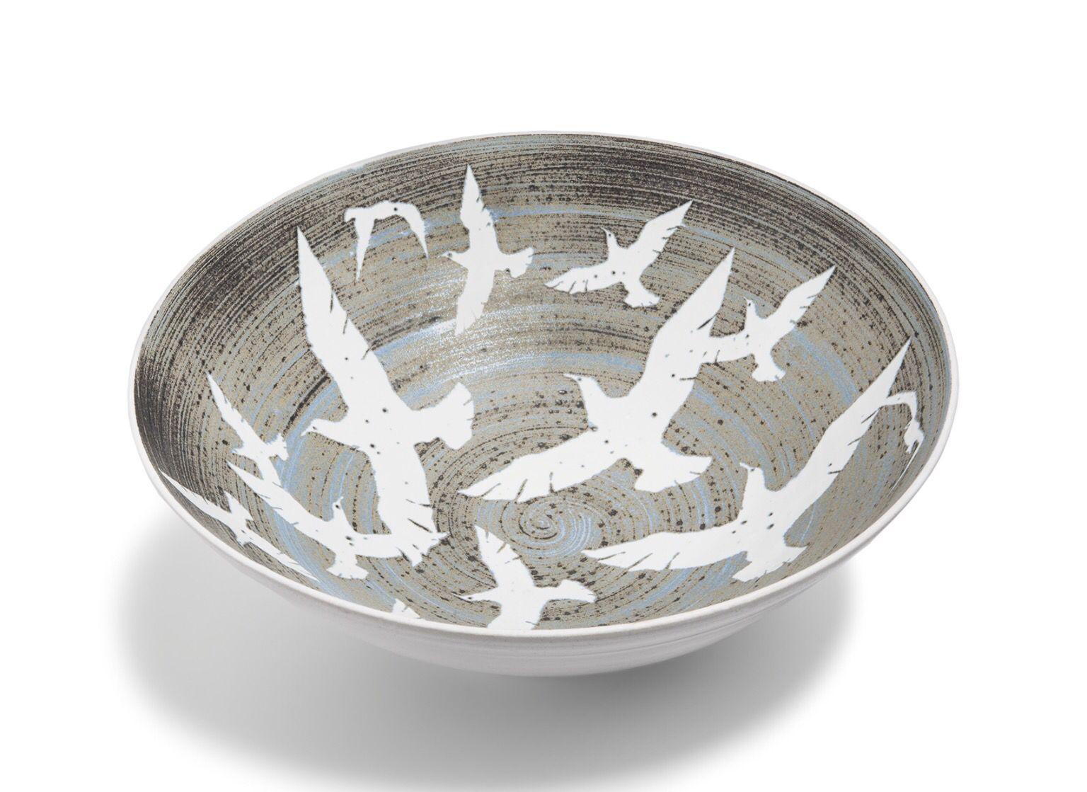Hand thrown sea gull bowl www.tregearpottery.co.uk