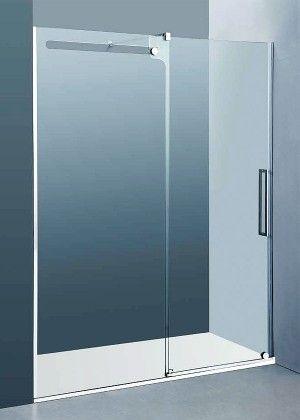 Ba o mampara de puerta corredera de acero inoxidable sin perfiler a superior con vidrio - Puerta corredera bano ...