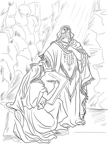 Baruch Writes Down Jeremiah S Prophecy On A Scroll Coloring Page