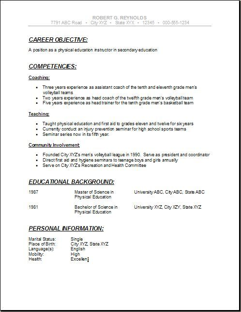school resumes pinterest high resume students chronological sample - high school education on resume