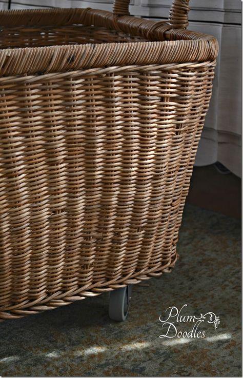 DIY Wicker Basket With Castors  PlumDoodles.com