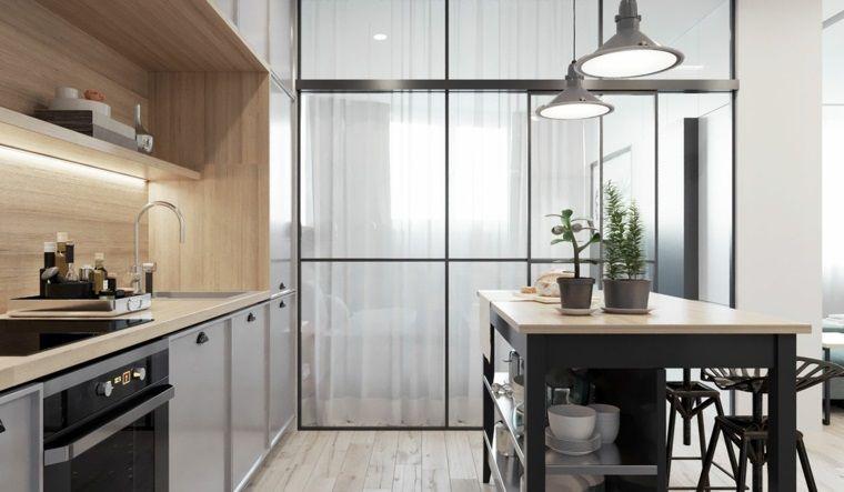 Cucine piccole dal design moderno con isola centrale e top in