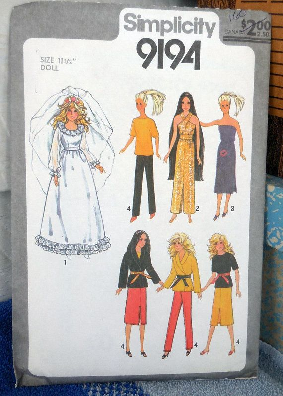 Simplicity 9194 Clothes For Barbie Similarly Sized Dolls Barbie