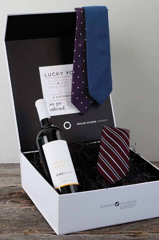 viaONEHOPE - Wine & Tie Gift Box Man, husband, boyfriend present ...